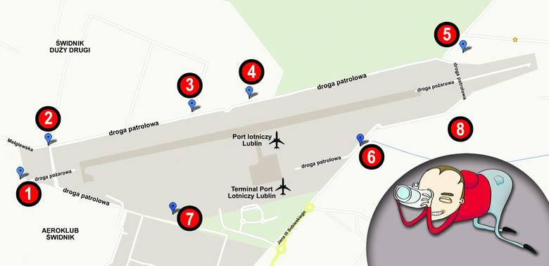 Mapa miejsc spotterskich - Kurier Lubelski