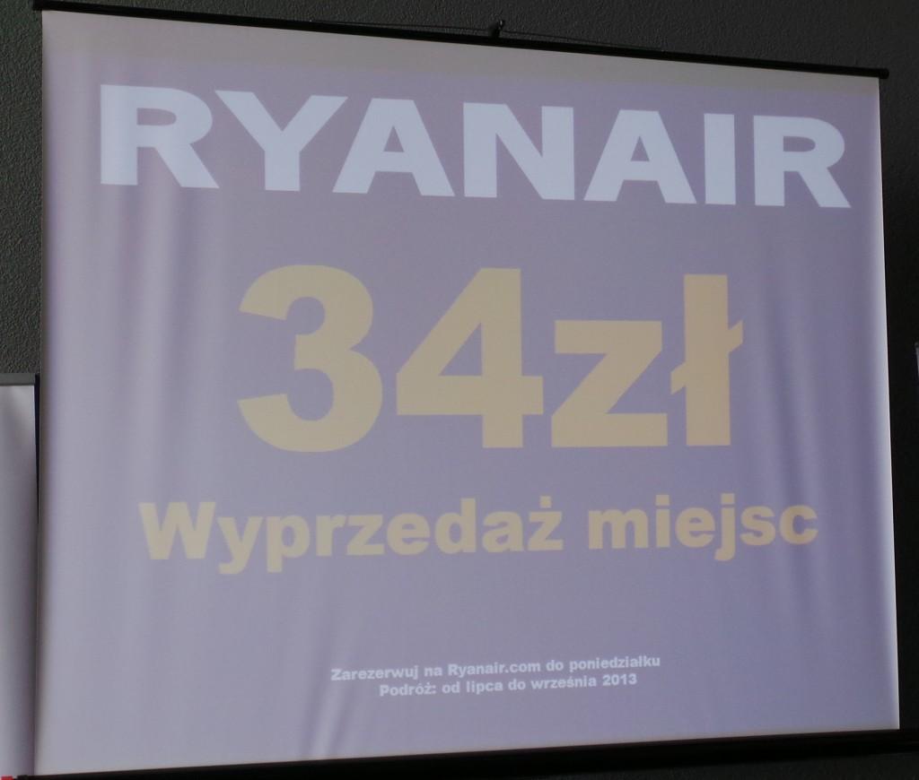 na pociesznie Ryanair organizuje wyprzedaż biletów od poniedziałku na wszystkie kierunki z Lublina od lipca do września 2013a