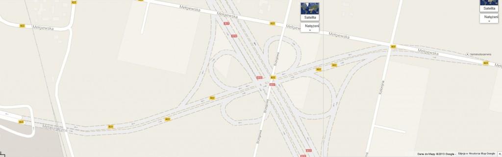 Zrzut ekranu z map Google - linią przerywaną zaznaczono przebieg przyszłej trasy