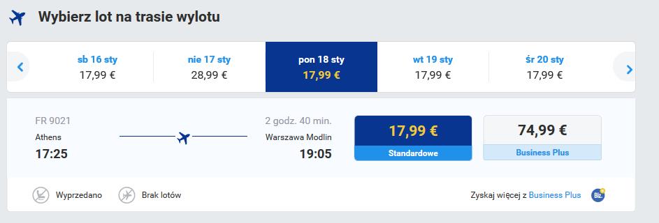 powrót do Polski zrealizujemy dzięki liniom Ryanair jednak wylądujemy na lotnisku w Modlinie