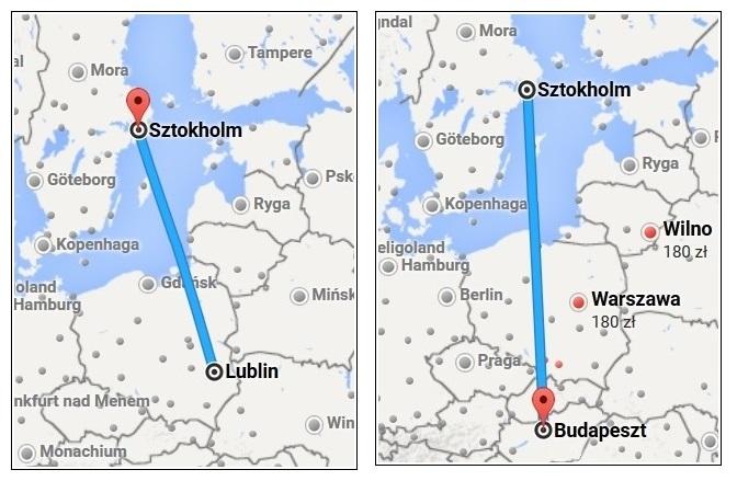 mapka ilustrująca przebieg podróży do Budapesztu z Lublina