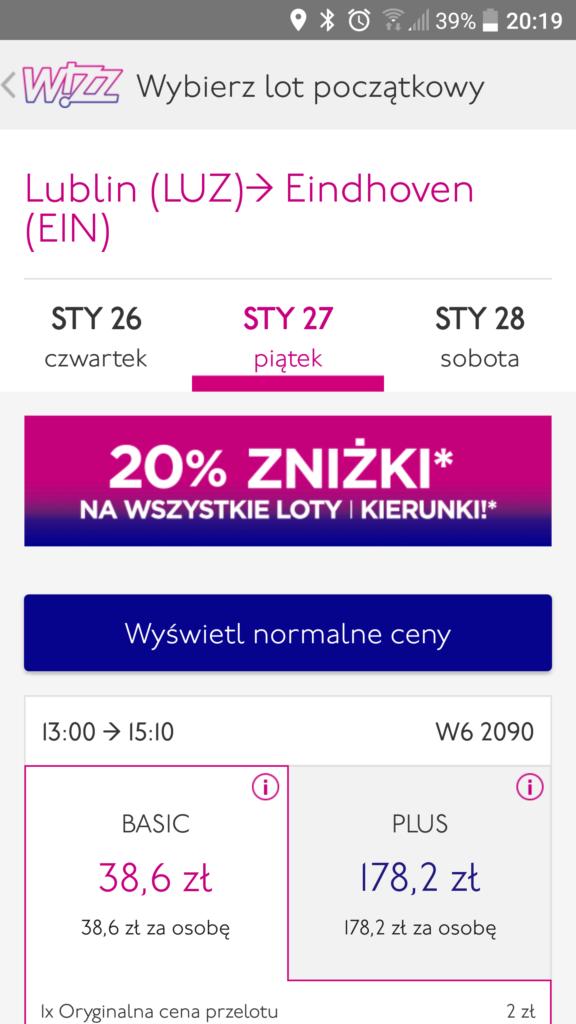 Wizz Air | Lublin 13:00 – Eindhoven 15:10 | 39 PLN | 27 stycznia,