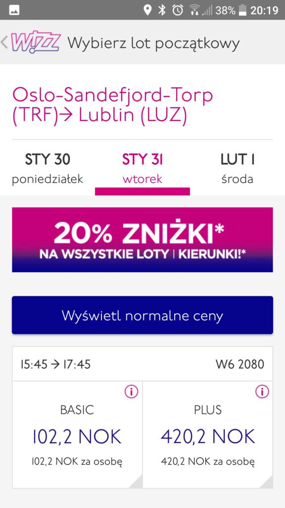 Wizz Air | Oslo (Torp) 15:45 – Lublin 17:45 | 102,2 NOK (ok. 49 PLN) | 31 stycznia,