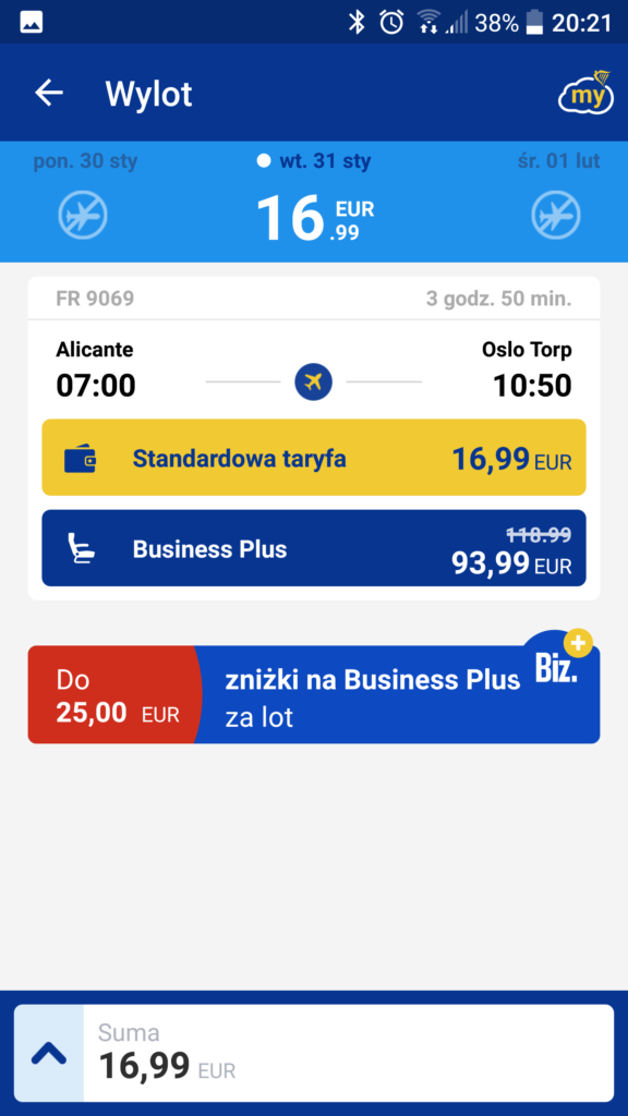 Ryanair | Alicante 07:00 – Oslo (Torp) 10:50 | 76 PLN | 31 stycznia,