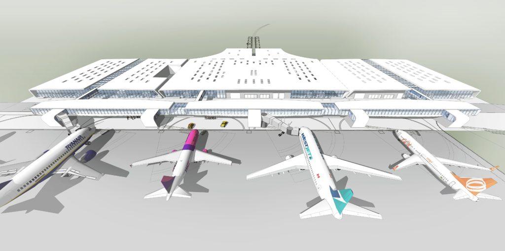 Wygląd docelowy terminala pasażerskiego od strony płyty postojowej